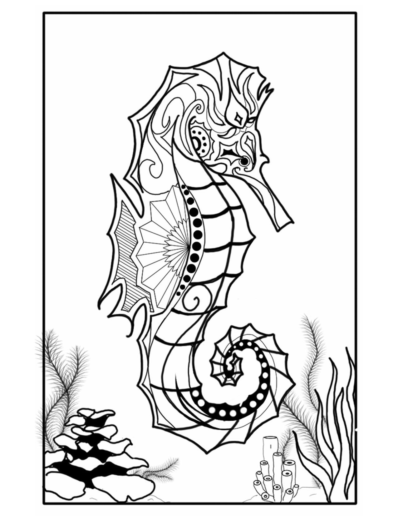 Abstract Sea Horse Coloring Page