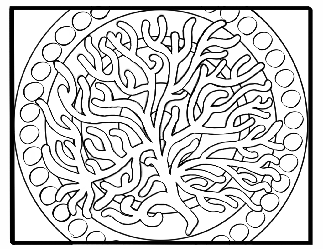 Fan Coral on Simple Mandala Background Coloring Page