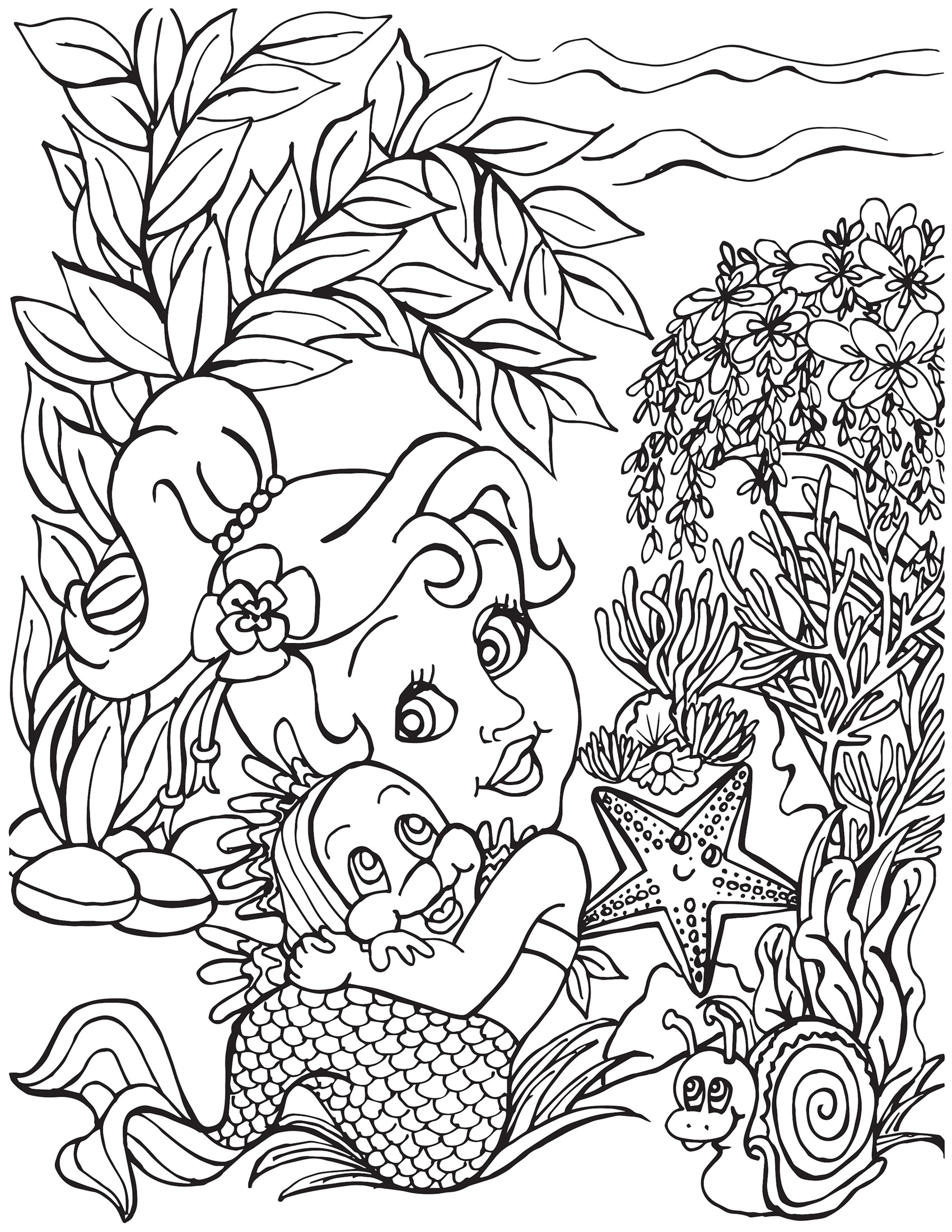 Happy Little Mermaid with Rainbow Fish and Starfish Coloring Page