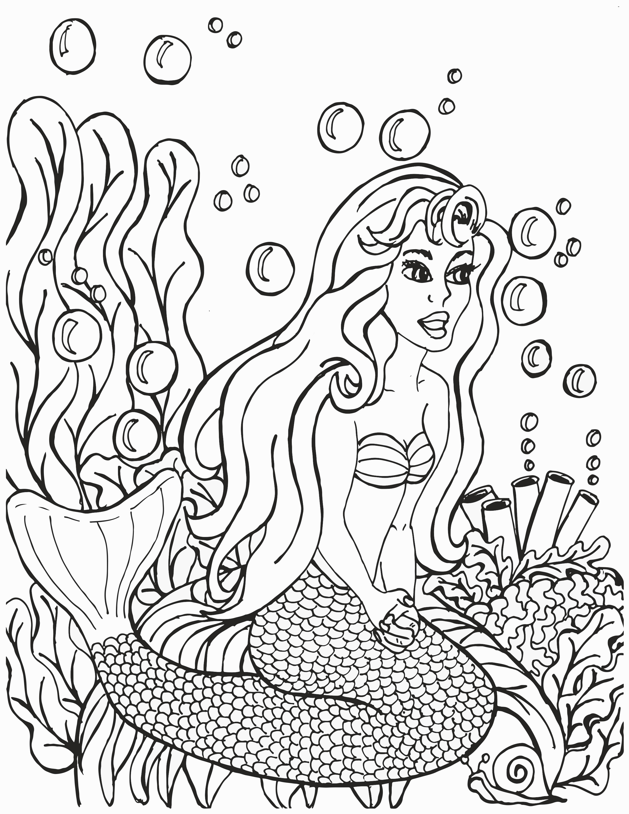 Kneeling Mermaid with Bubble and Plants Coloring Page