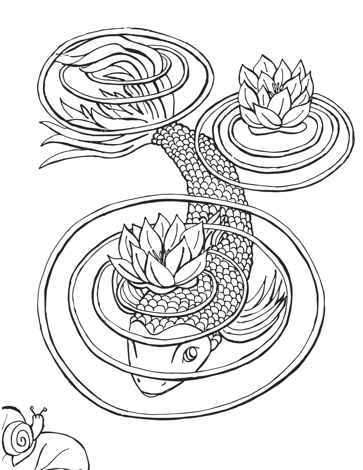 Koi Fish With Lily Pad Coloring Page