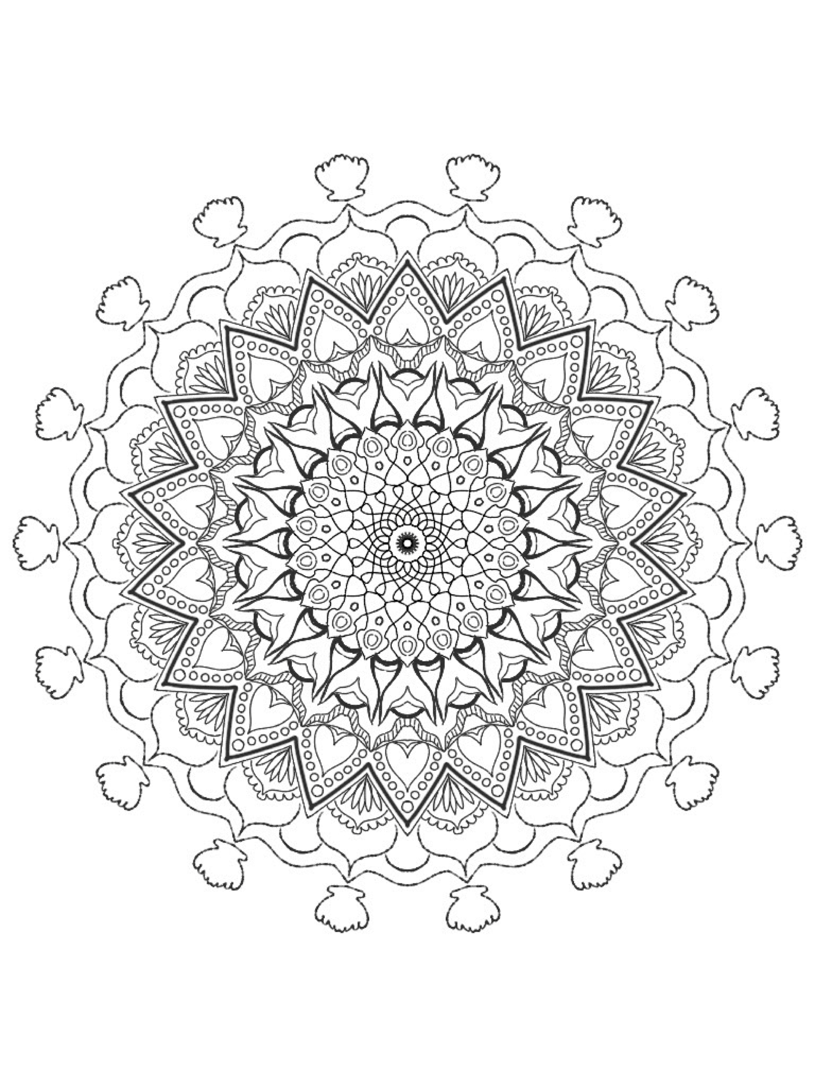 Mandala Featuring Mermaid Tails Coloring Page