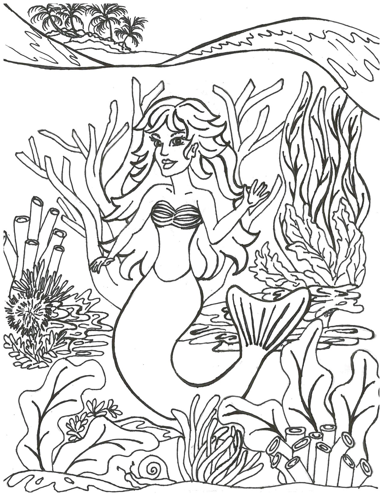 Mermaid with Sea Plants Coloring Page