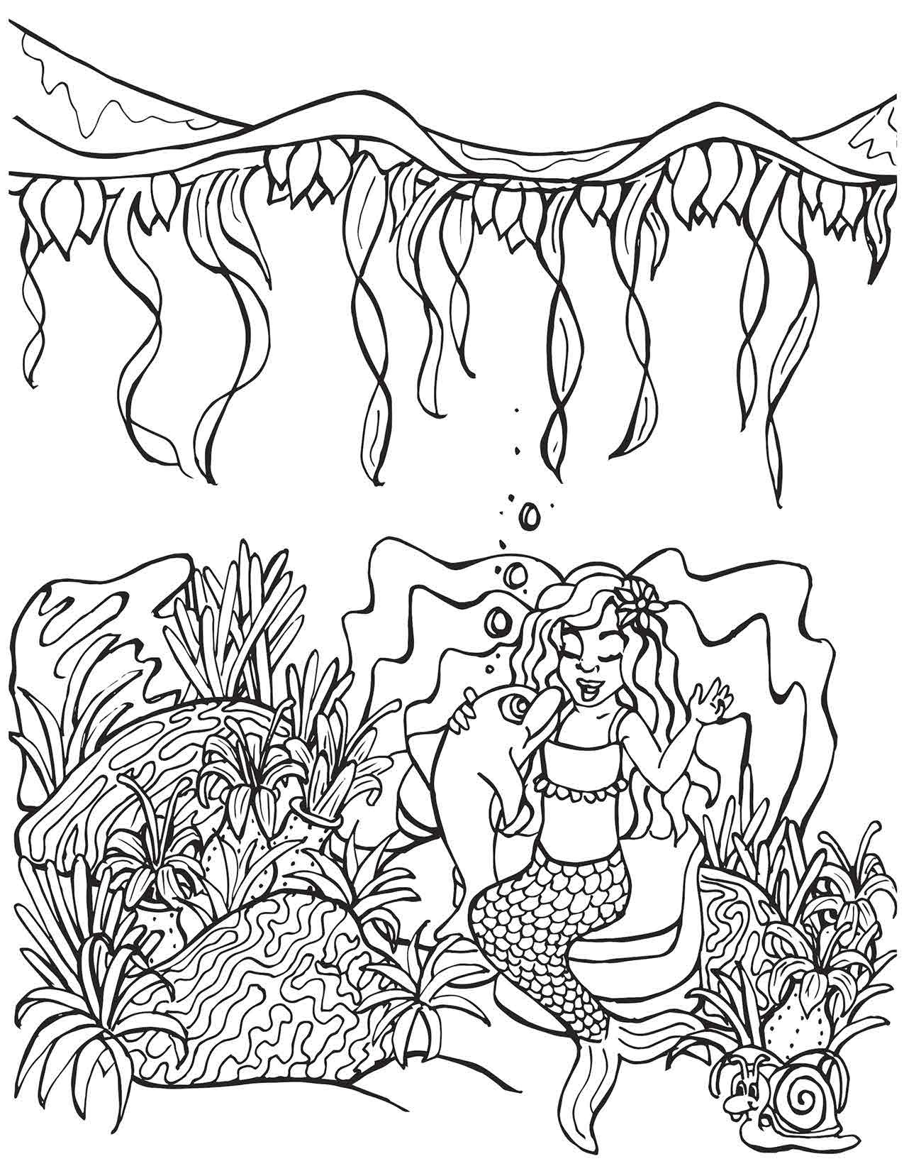 Mermaid Singing with Dolphin Under the Sea Surface Coloring Page