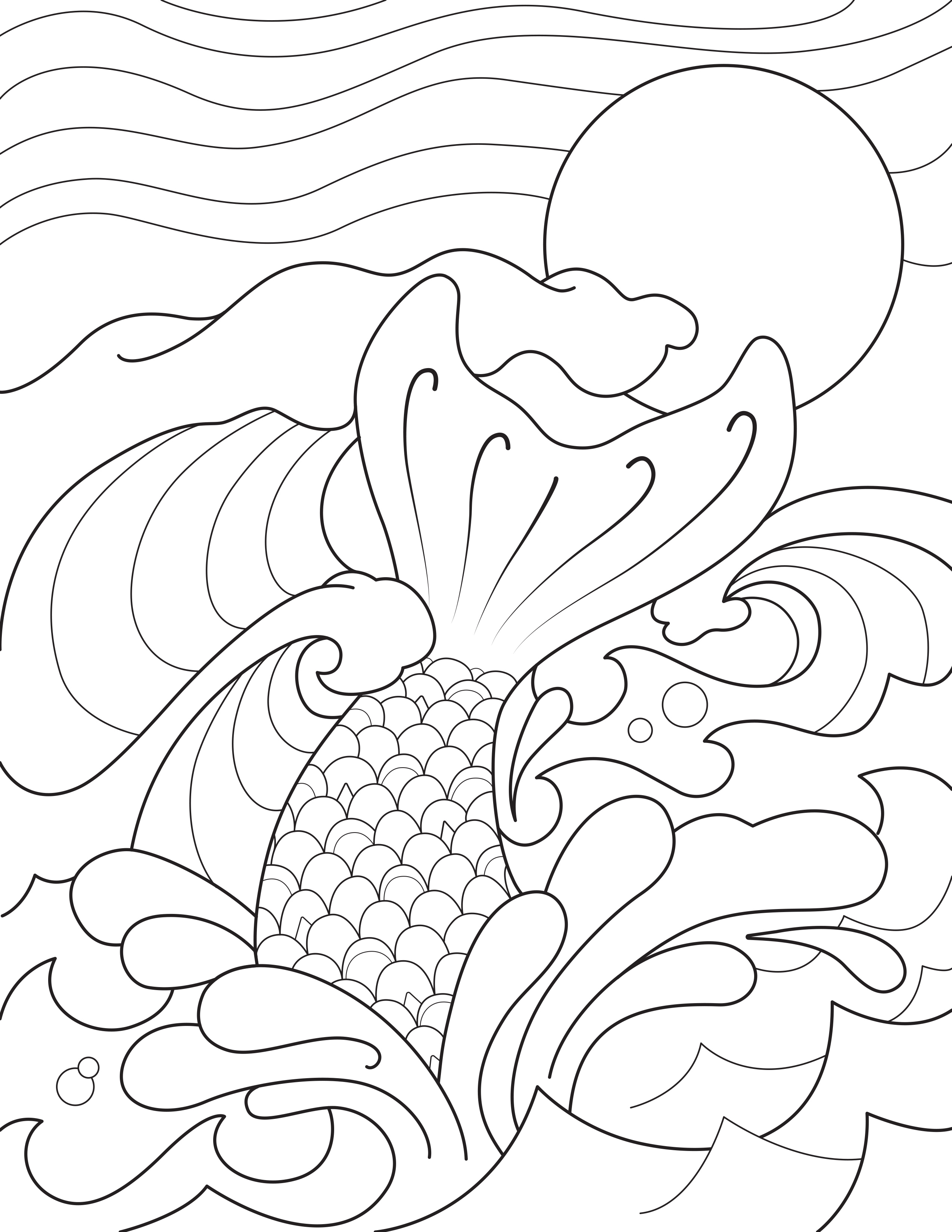 Mermaid Tail Splashing in the Waves Coloring Page