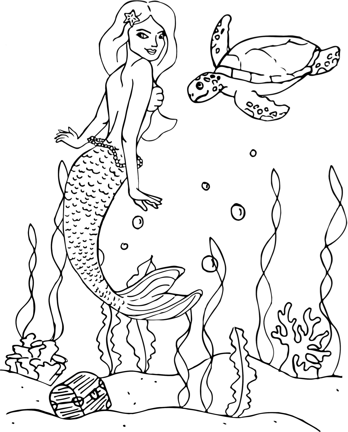 Mermaid with Sea Turtle and Treasure Chest Coloring Page