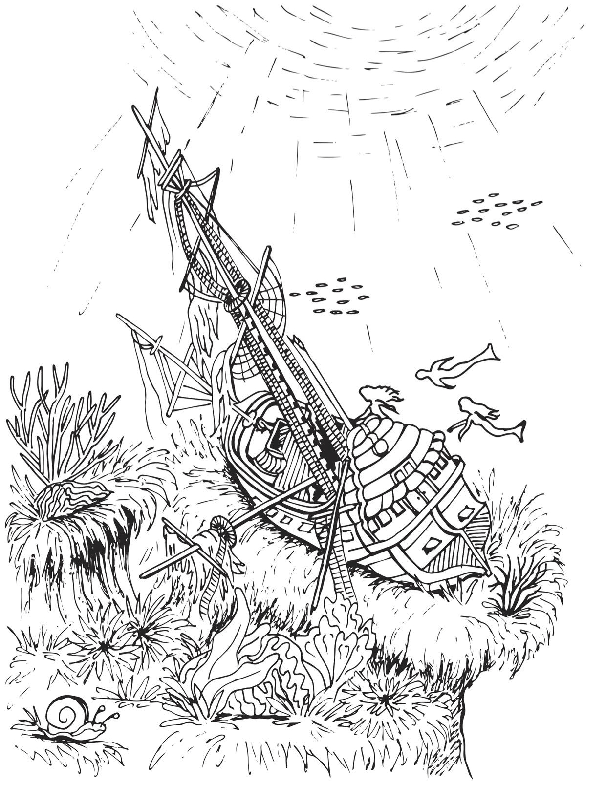 Mermaids Love to Explore Shipwrecks Coloring Page