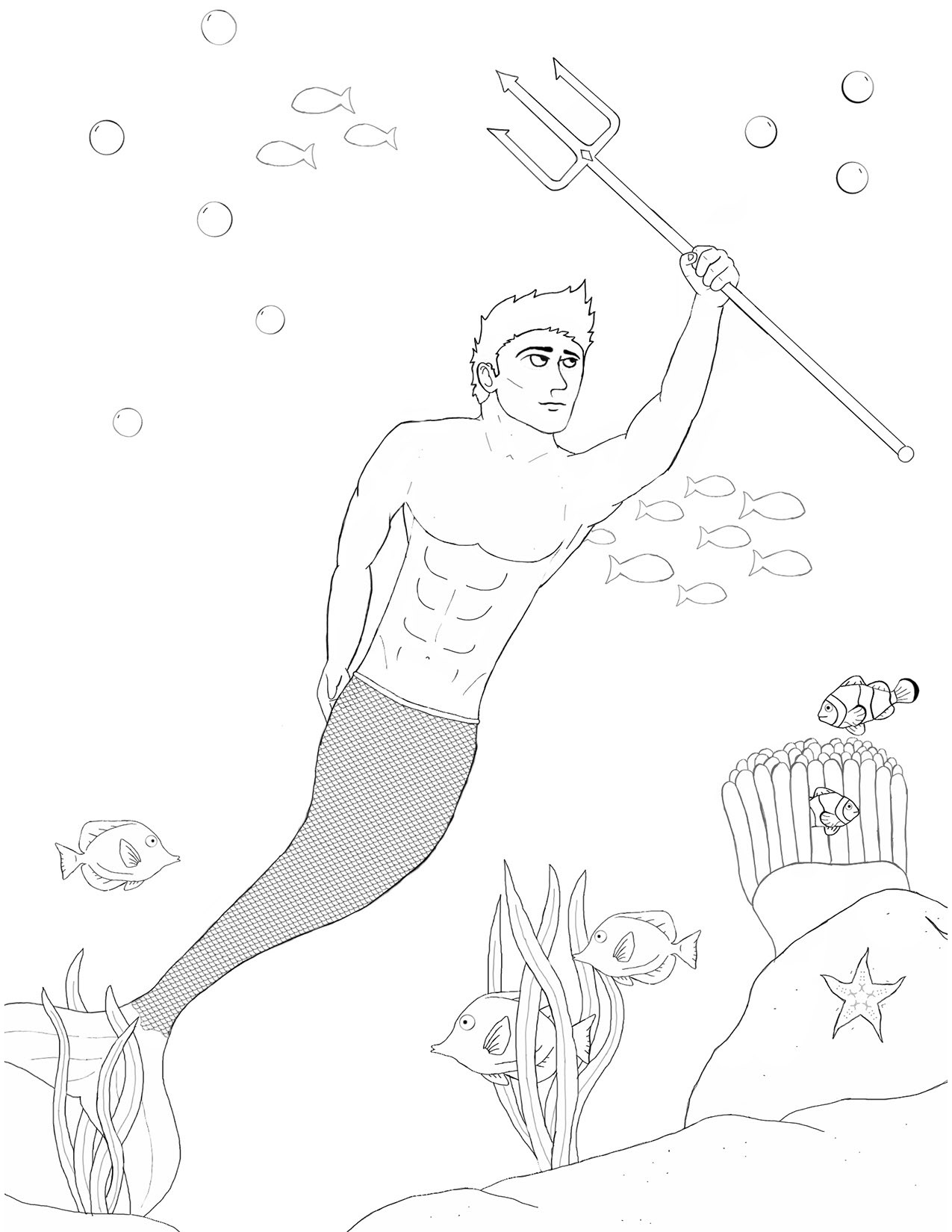 Merman with Trident Coloring Page