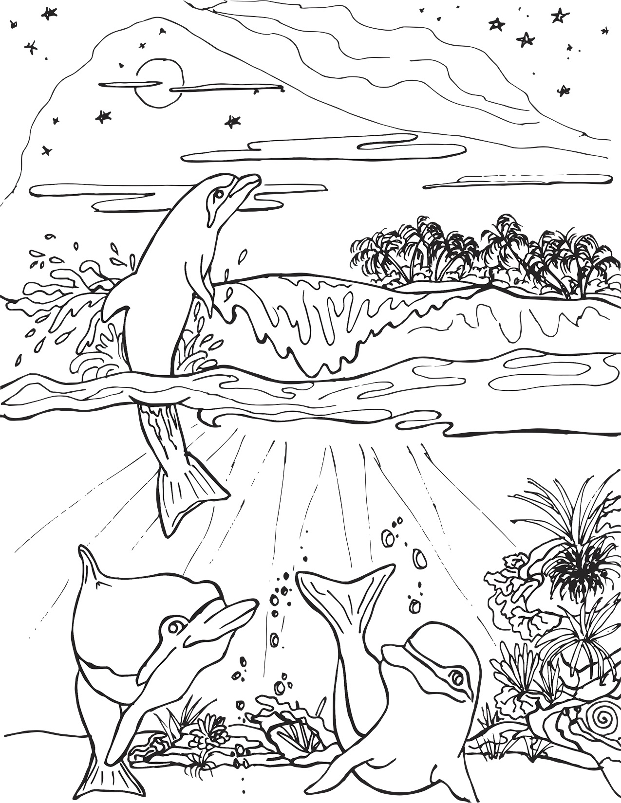 Three Dolphins Frolicking Near Island Coloring Page