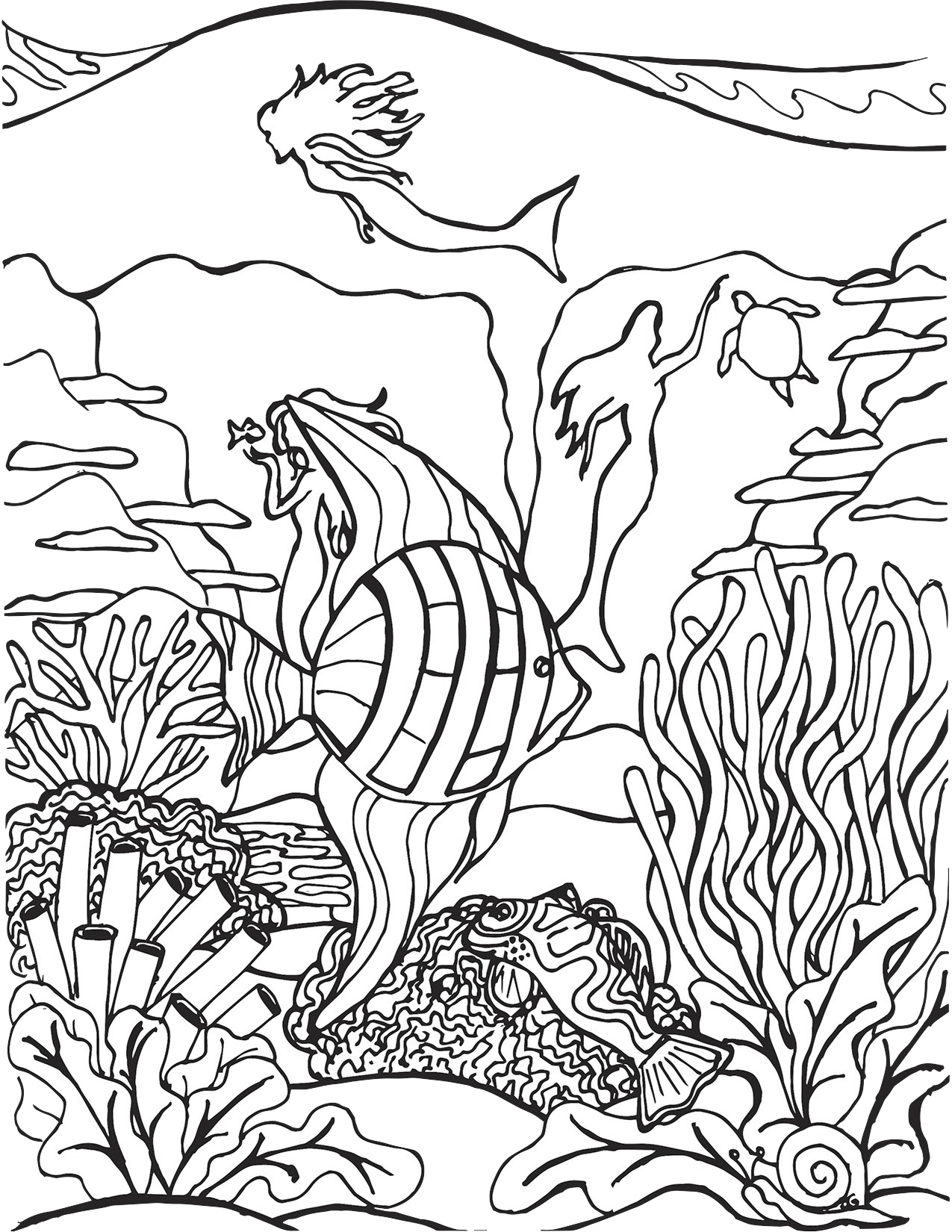 Tropical Fish and Mermaid Silhouettes Coloring Page